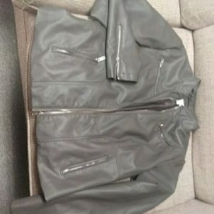 New york & co grey faux leather jacket